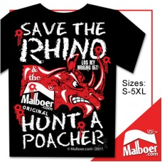 "Malboer© ""Save the Rhino"" Tshirt Black"
